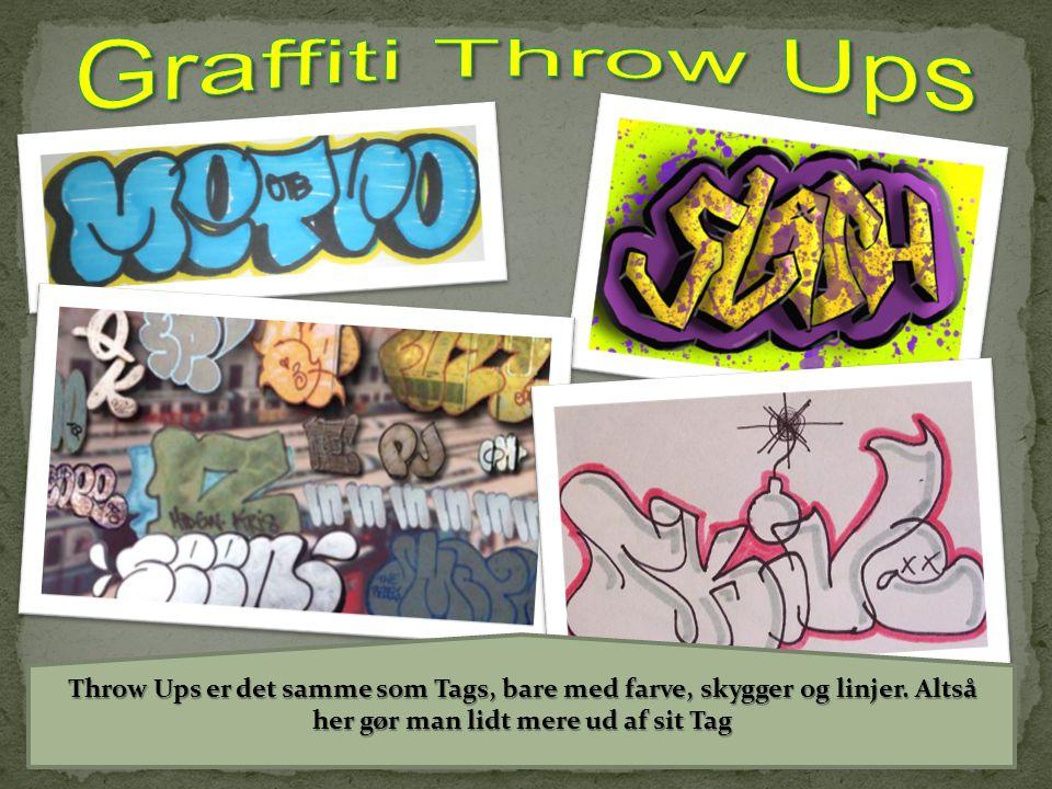 Graffiti Throw Ups Throw Ups er det samme som Tags, bare med farve, skygger og linjer.