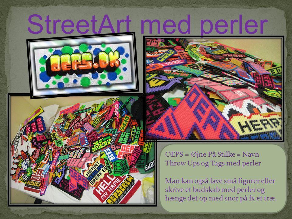 StreetArt med perler OEPS = Øjne På Stilke = Navn