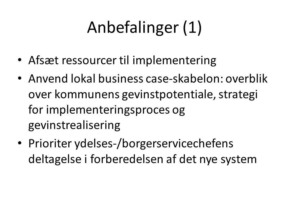 Anbefalinger (1) Afsæt ressourcer til implementering