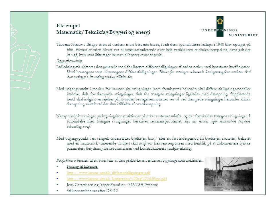 Eksempel Matematik/Teknikfag Byggeri og energi