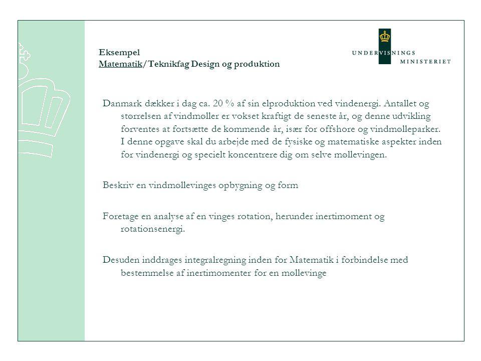 Eksempel Matematik/Teknikfag Design og produktion