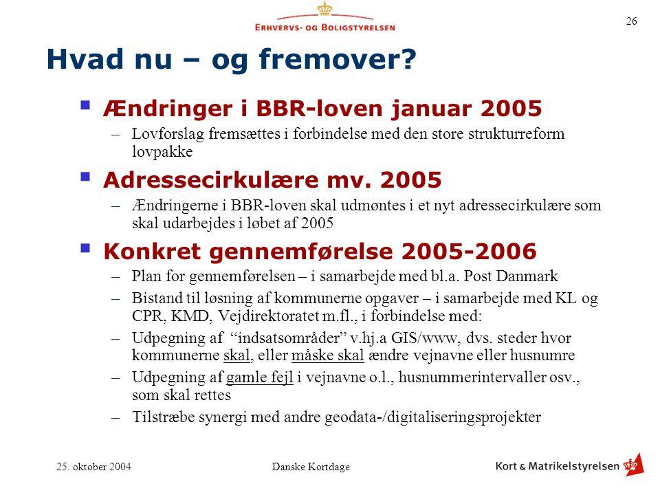 Hvad nu – og fremover Ændringer i BBR-loven januar 2005
