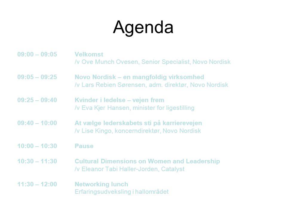 Agenda 09:00 – 09:05 Velkomst. /v Ove Munch Ovesen, Senior Specialist, Novo Nordisk. 09:05 – 09:25 Novo Nordisk – en mangfoldig virksomhed.