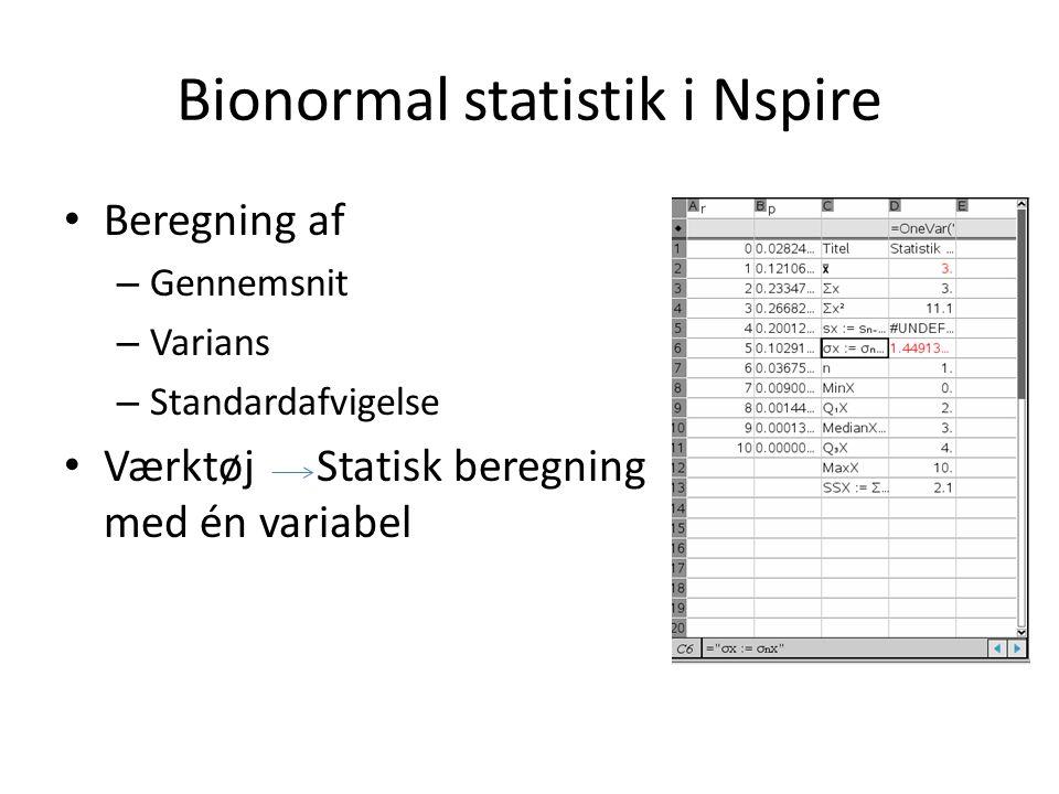Bionormal statistik i Nspire