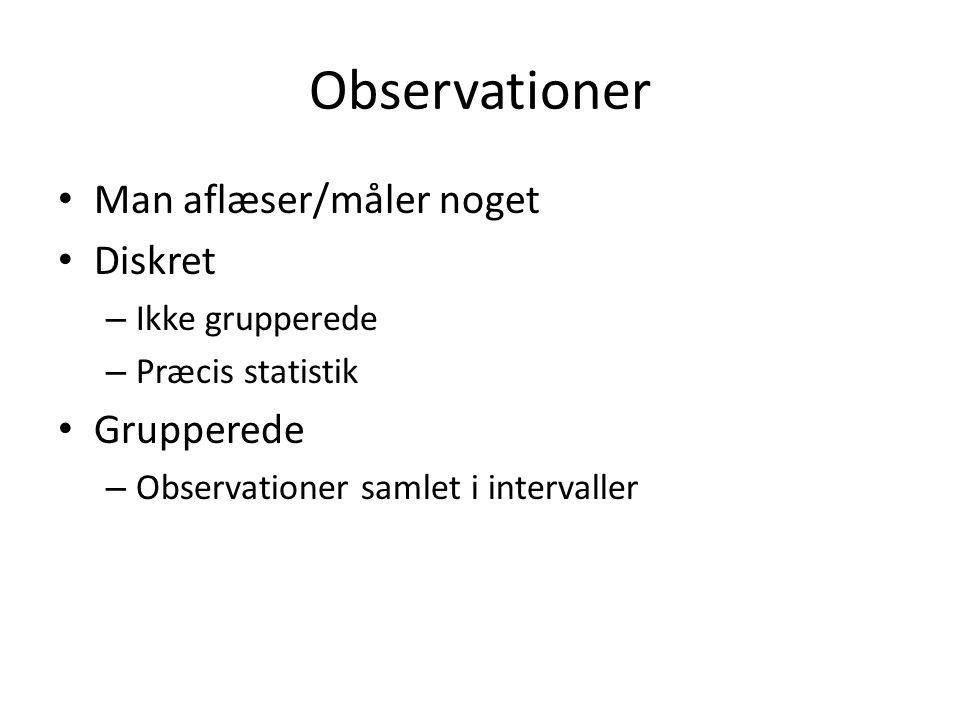 Observationer Man aflæser/måler noget Diskret Grupperede