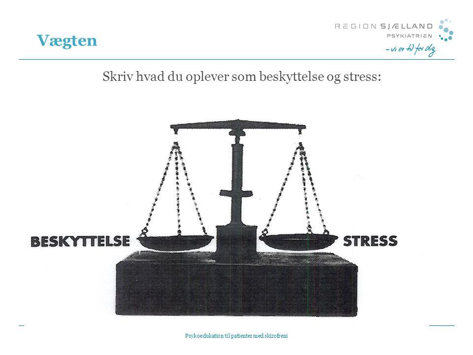 Vægten Skriv hvad du oplever som beskyttelse og stress: