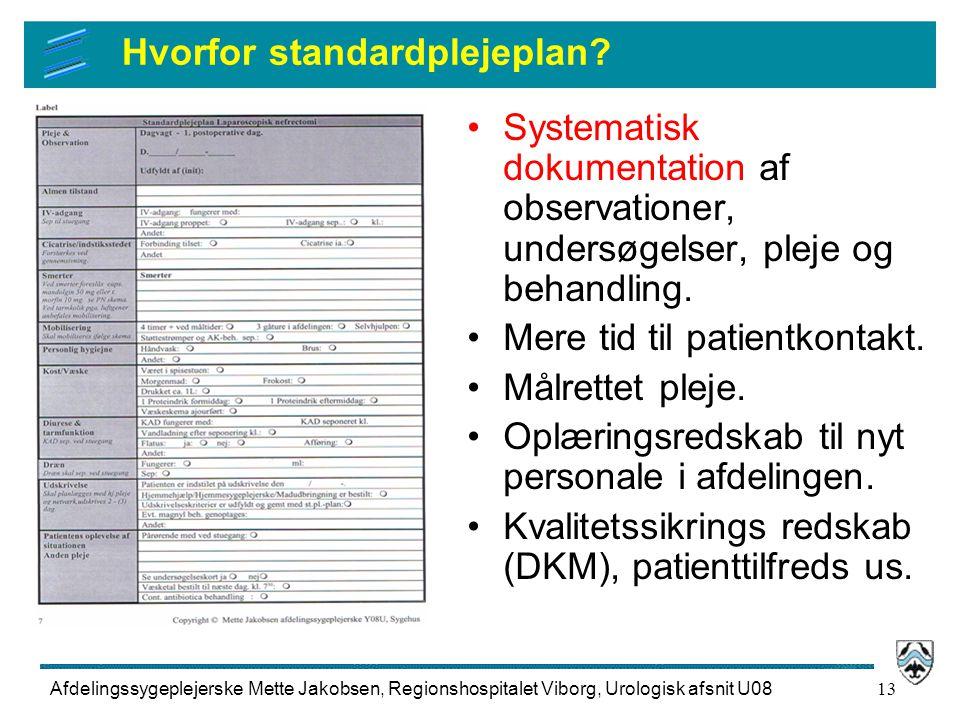 Hvorfor standardplejeplan