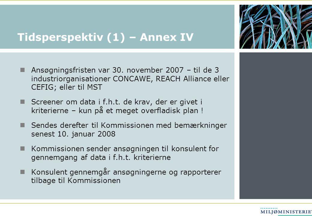 Tidsperspektiv (1) – Annex IV