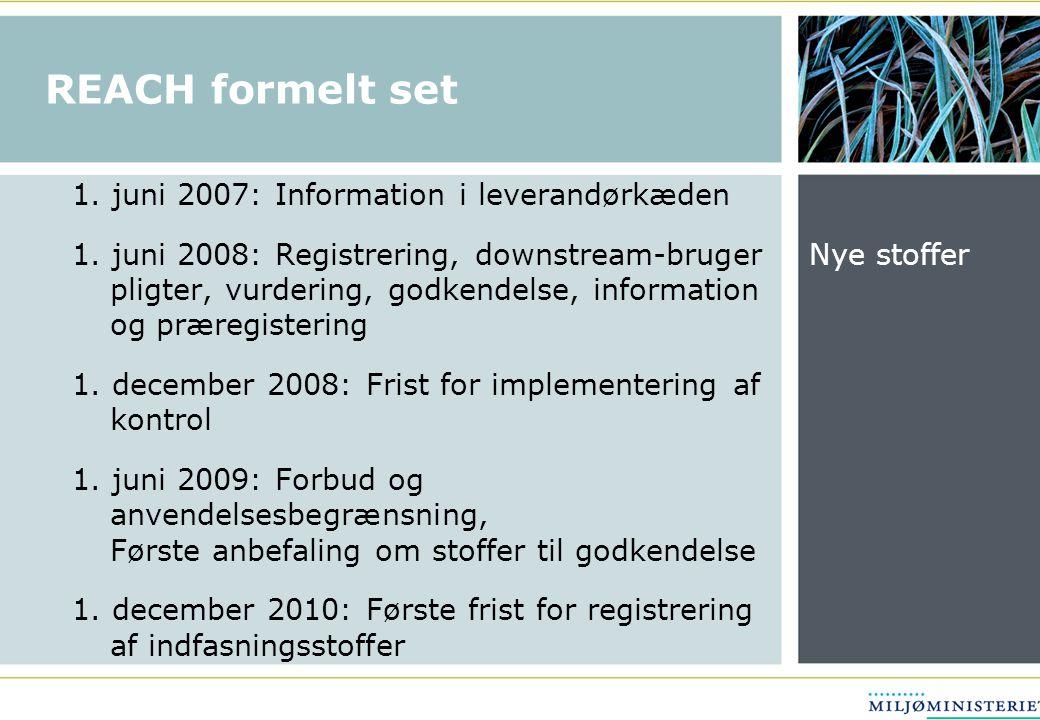 REACH formelt set 1. juni 2007: Information i leverandørkæden