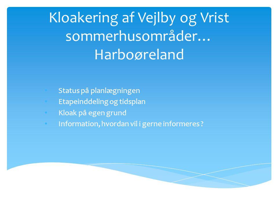 Kloakering af Vejlby og Vrist sommerhusområder… Harboøreland