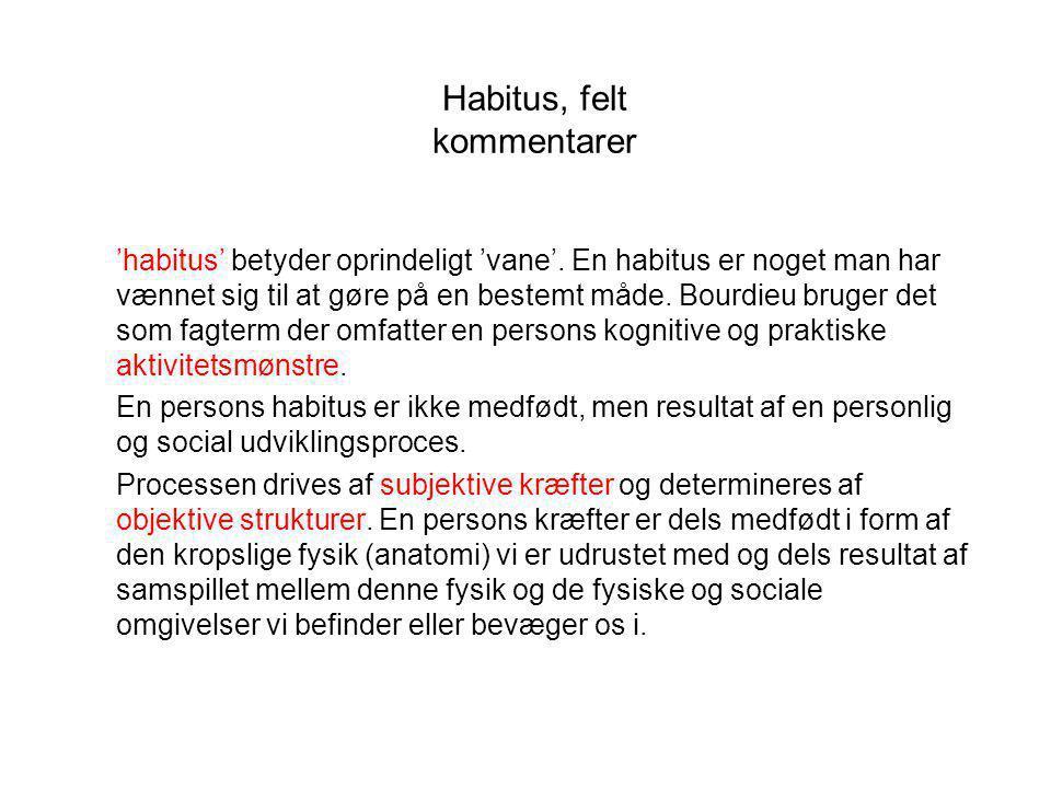 Habitus, felt kommentarer