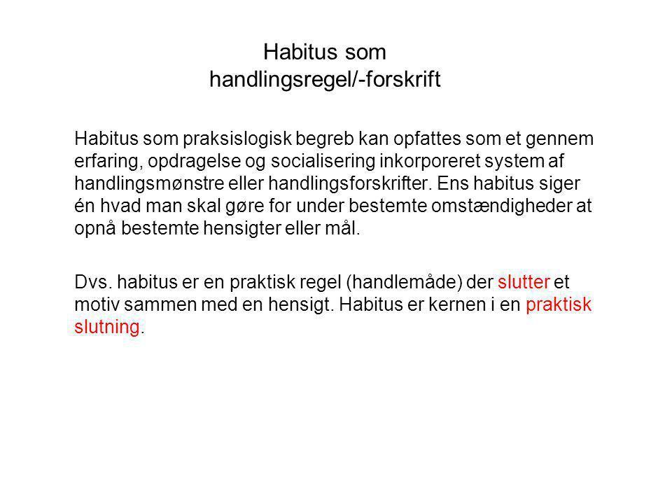 Habitus som handlingsregel/-forskrift