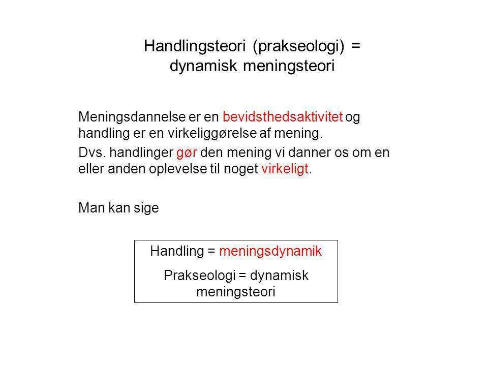 Handlingsteori (prakseologi) = dynamisk meningsteori