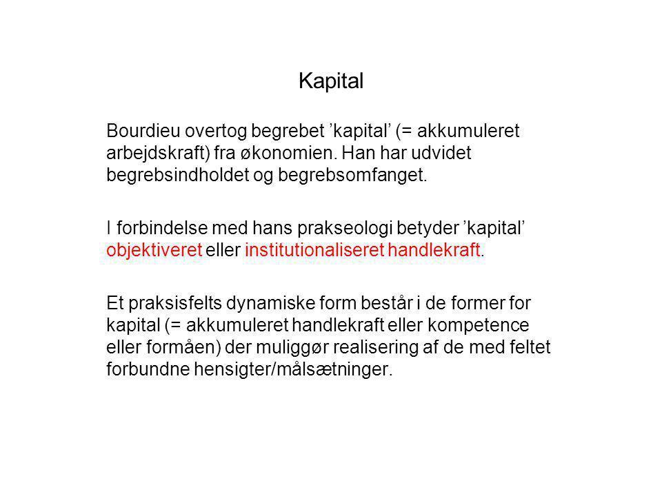 Kapital Bourdieu overtog begrebet 'kapital' (= akkumuleret arbejdskraft) fra økonomien. Han har udvidet begrebsindholdet og begrebsomfanget.