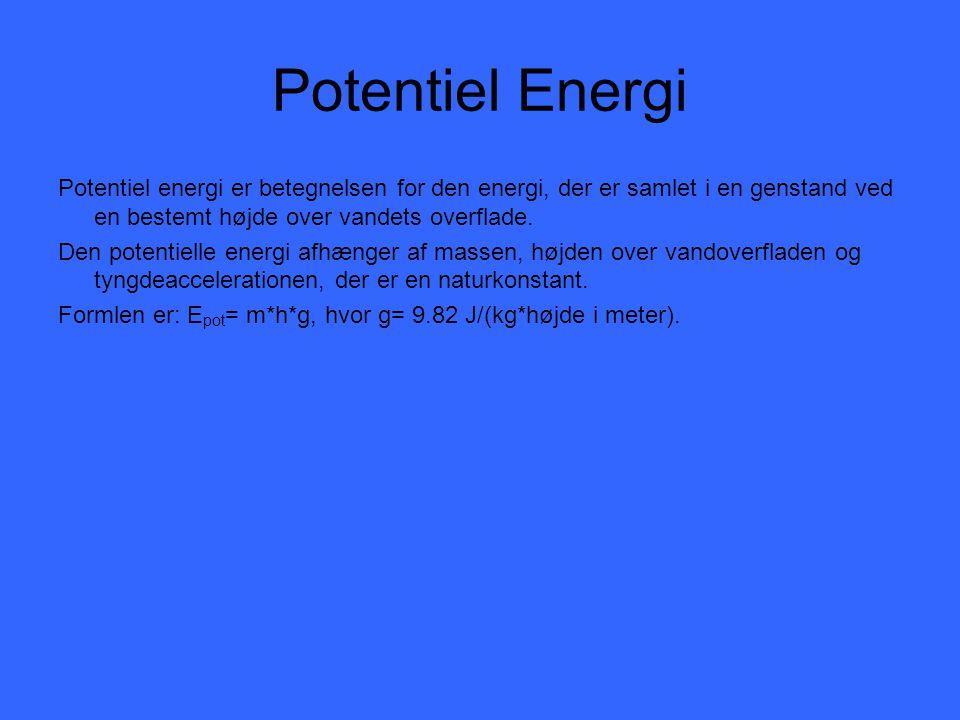 Potentiel Energi Potentiel energi er betegnelsen for den energi, der er samlet i en genstand ved en bestemt højde over vandets overflade.