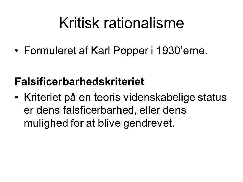 Kritisk rationalisme Formuleret af Karl Popper i 1930'erne.