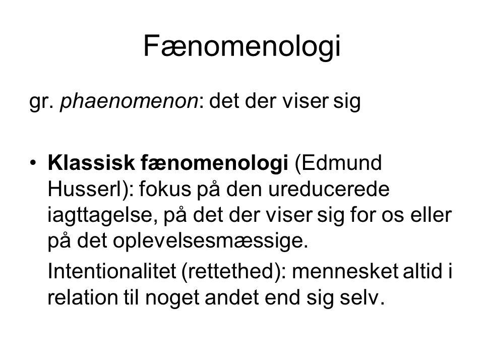 Fænomenologi gr. phaenomenon: det der viser sig