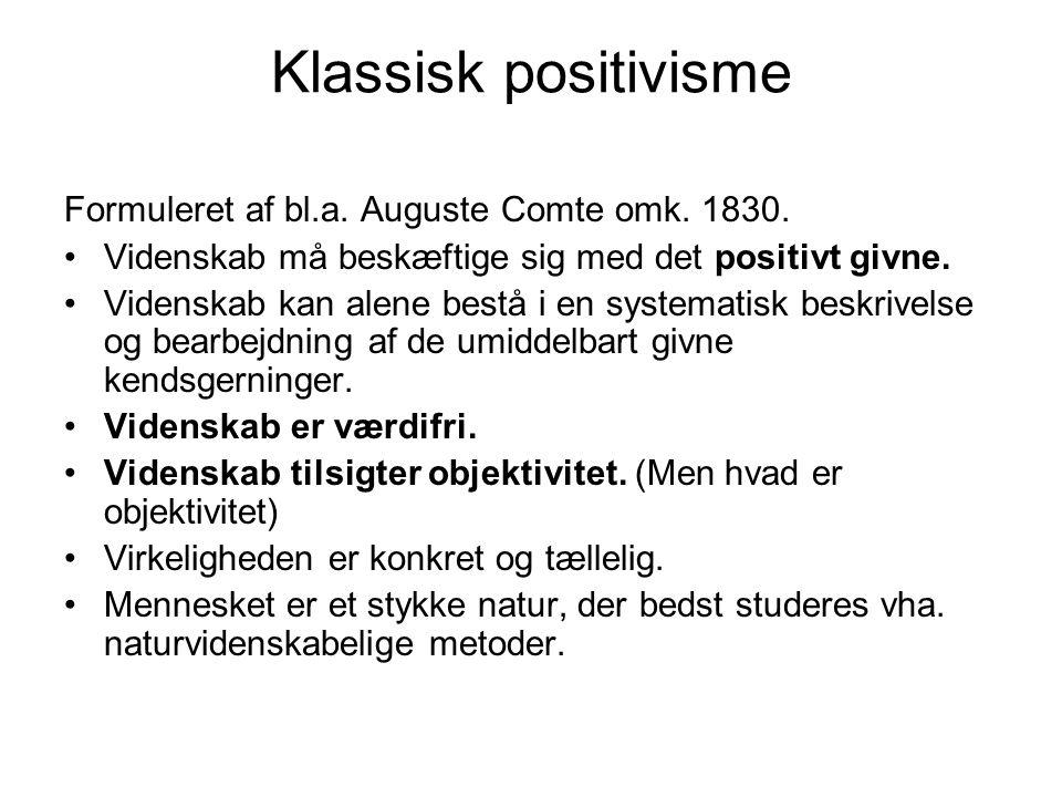 Klassisk positivisme Formuleret af bl.a. Auguste Comte omk. 1830.