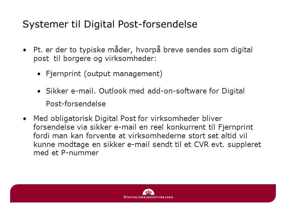 Systemer til Digital Post-forsendelse