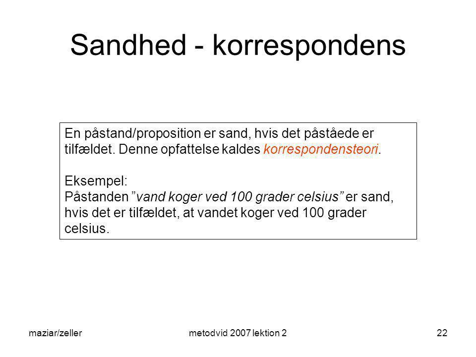 Sandhed - korrespondens