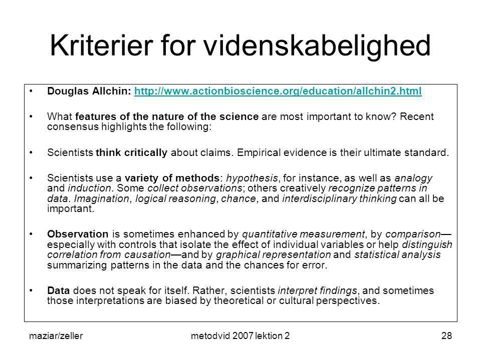 Kriterier for videnskabelighed
