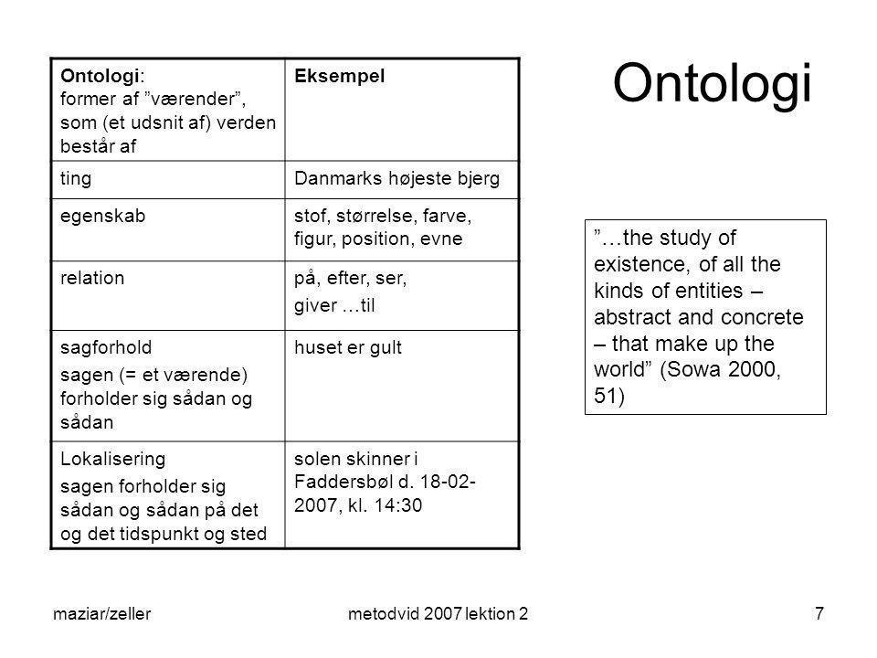 Ontologi Ontologi: former af værender , som (et udsnit af) verden består af. Eksempel.