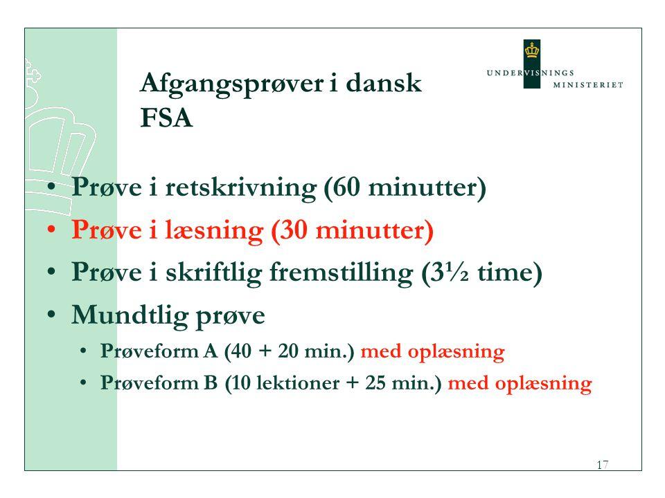 Afgangsprøver i dansk FSA