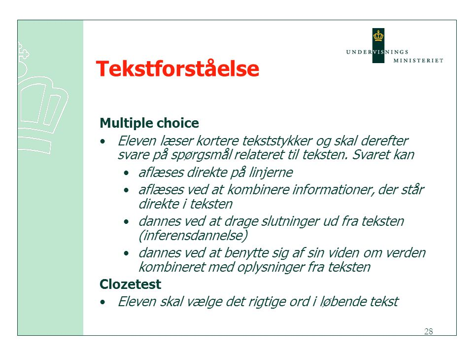 Tekstforståelse Multiple choice