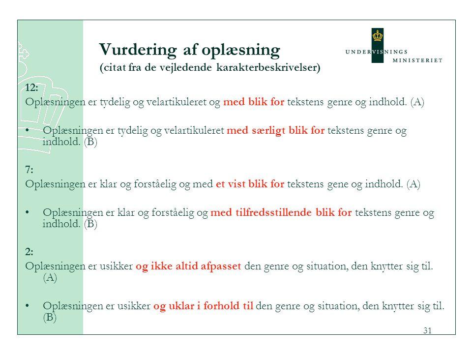 Vurdering af oplæsning (citat fra de vejledende karakterbeskrivelser)