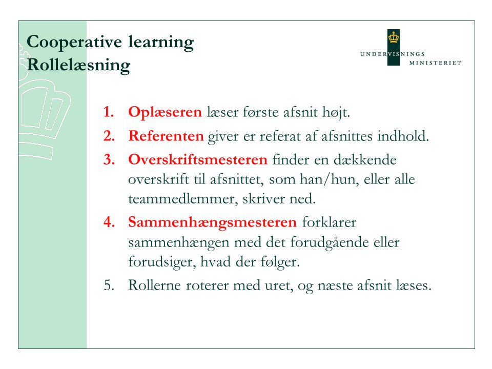Cooperative learning Rollelæsning