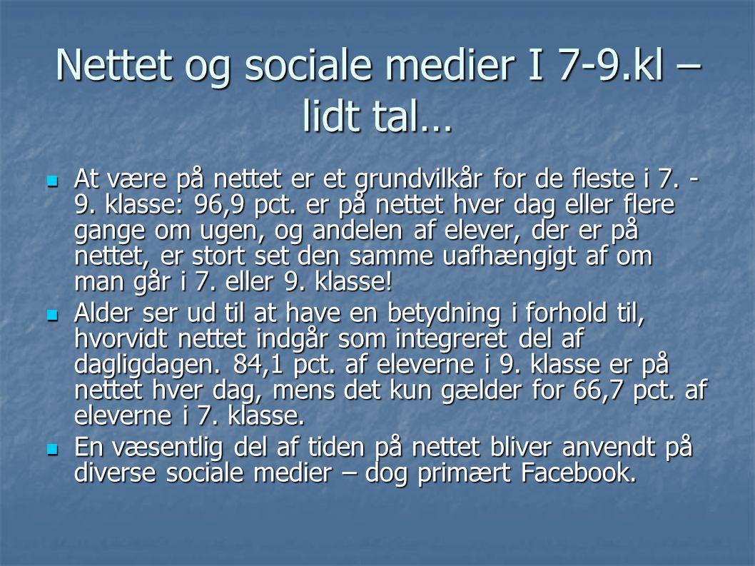 Nettet og sociale medier I 7-9.kl – lidt tal…