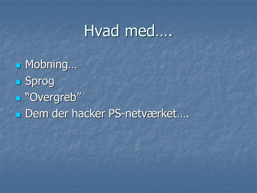 Hvad med…. Mobning… Sprog Overgreb Dem der hacker PS-netværket….