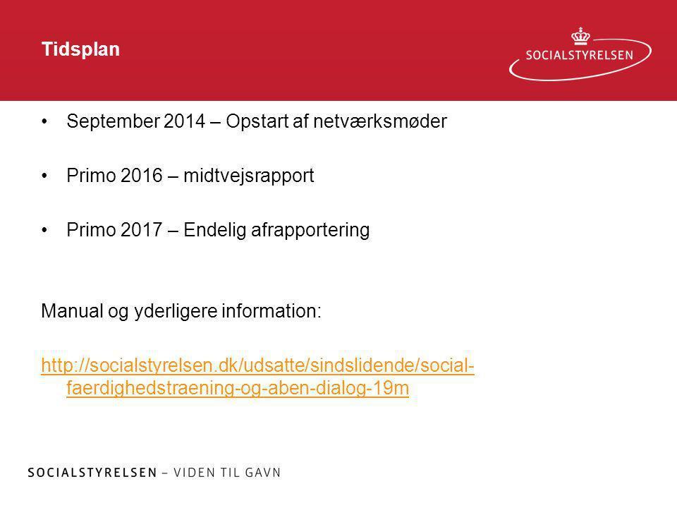 Tidsplan September 2014 – Opstart af netværksmøder. Primo 2016 – midtvejsrapport. Primo 2017 – Endelig afrapportering.