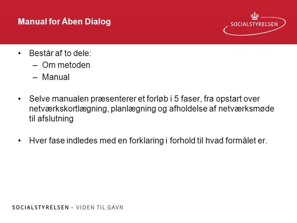 Manual for Åben Dialog Består af to dele: Om metoden. Manual.