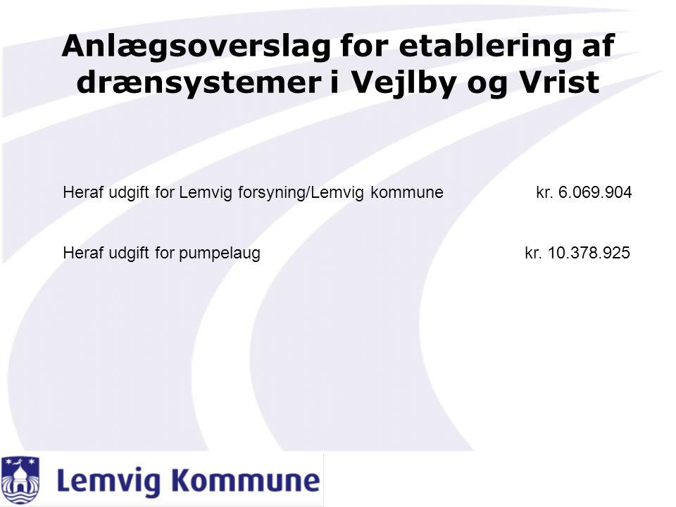 Anlægsoverslag for etablering af drænsystemer i Vejlby og Vrist