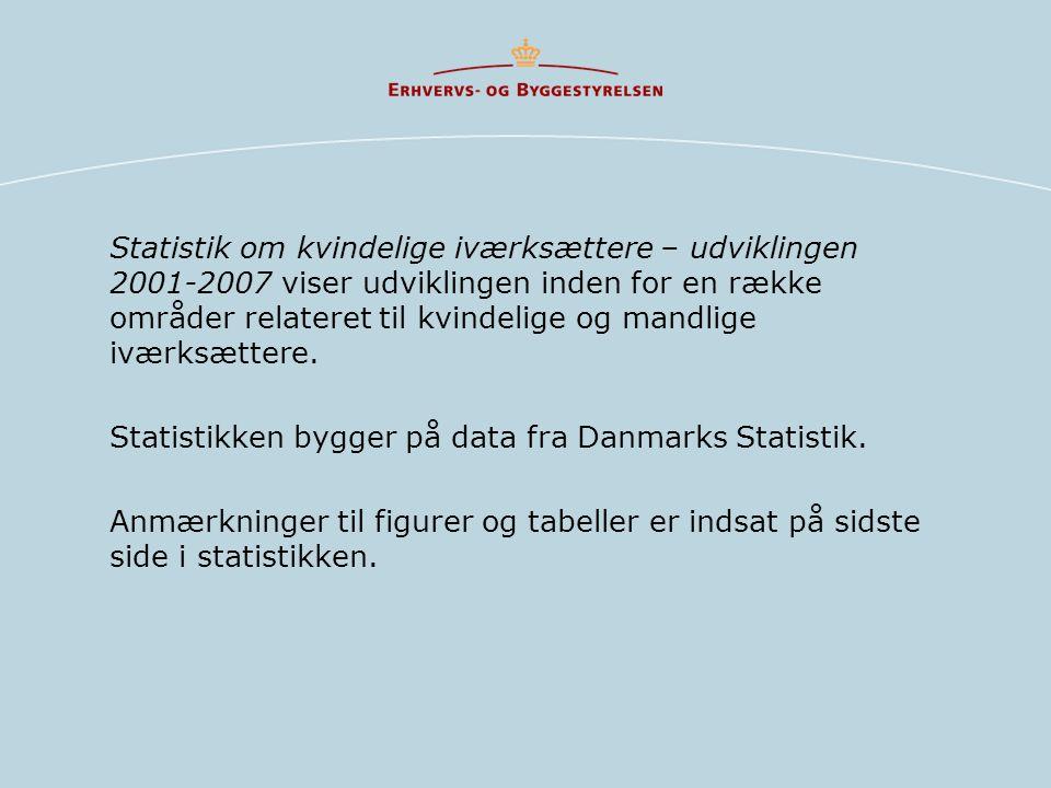 Statistik om kvindelige iværksættere – udviklingen 2001-2007 viser udviklingen inden for en række områder relateret til kvindelige og mandlige iværksættere.