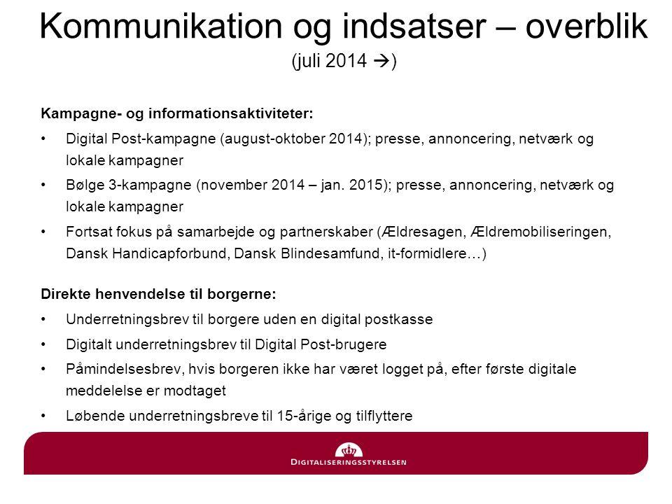 Kommunikation og indsatser – overblik (juli 2014 )