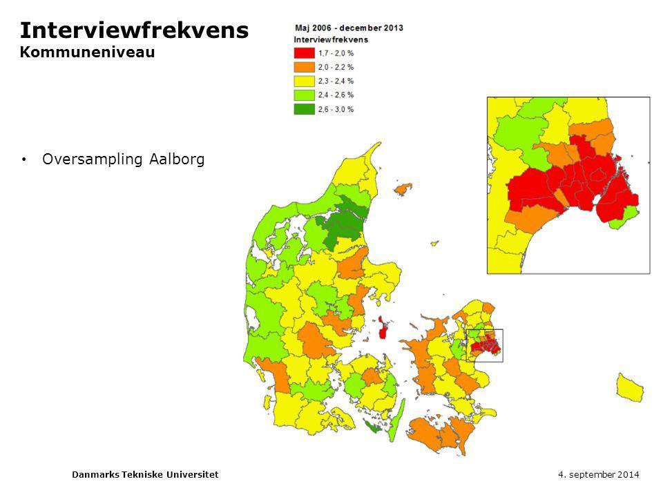 Interviewfrekvens Kommuneniveau Oversampling Aalborg 4. september 2014