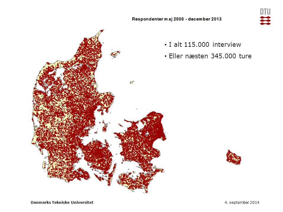 I alt 115.000 interview Eller næsten 345.000 ture 4. september 2014