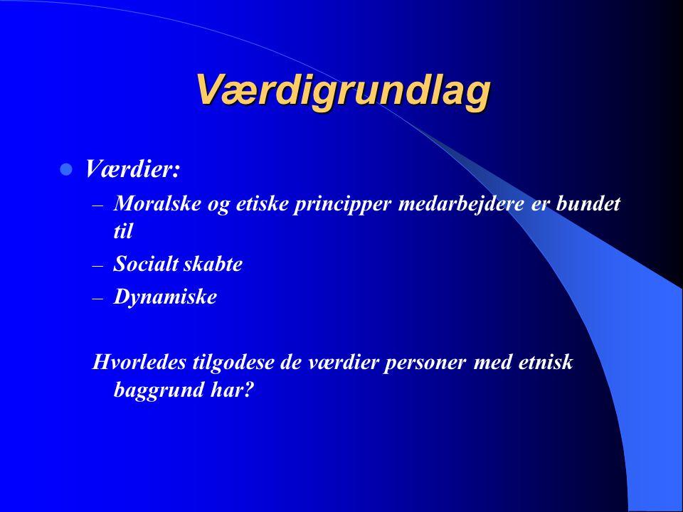 Værdigrundlag Værdier: