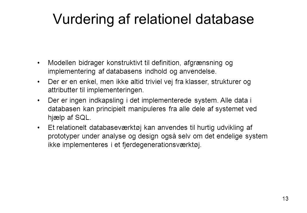 Vurdering af relationel database
