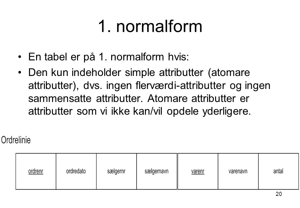1. normalform En tabel er på 1. normalform hvis: