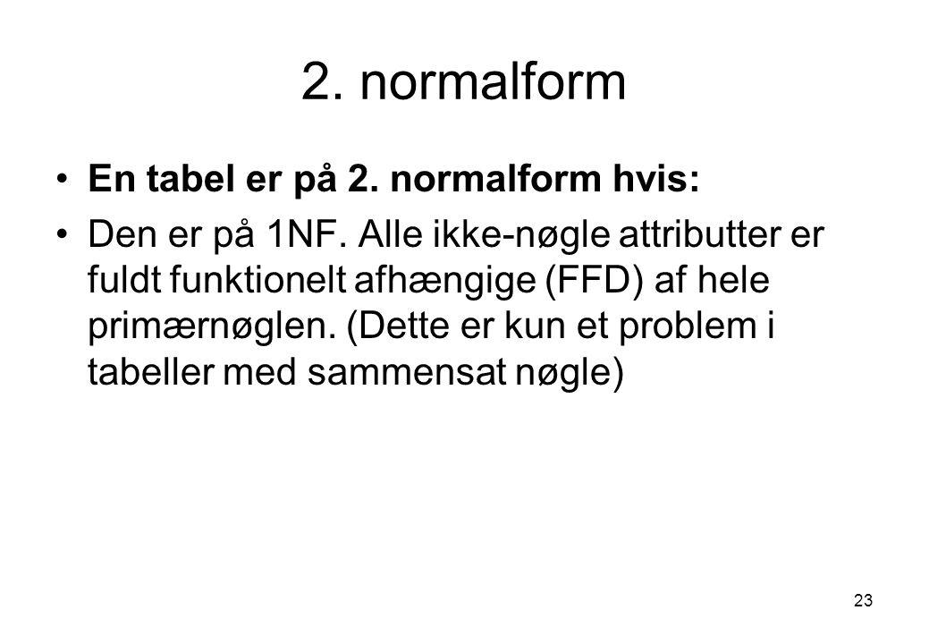 2. normalform En tabel er på 2. normalform hvis: