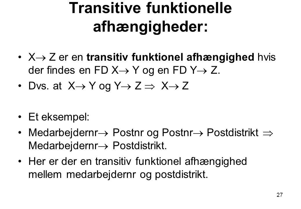 Transitive funktionelle afhængigheder: