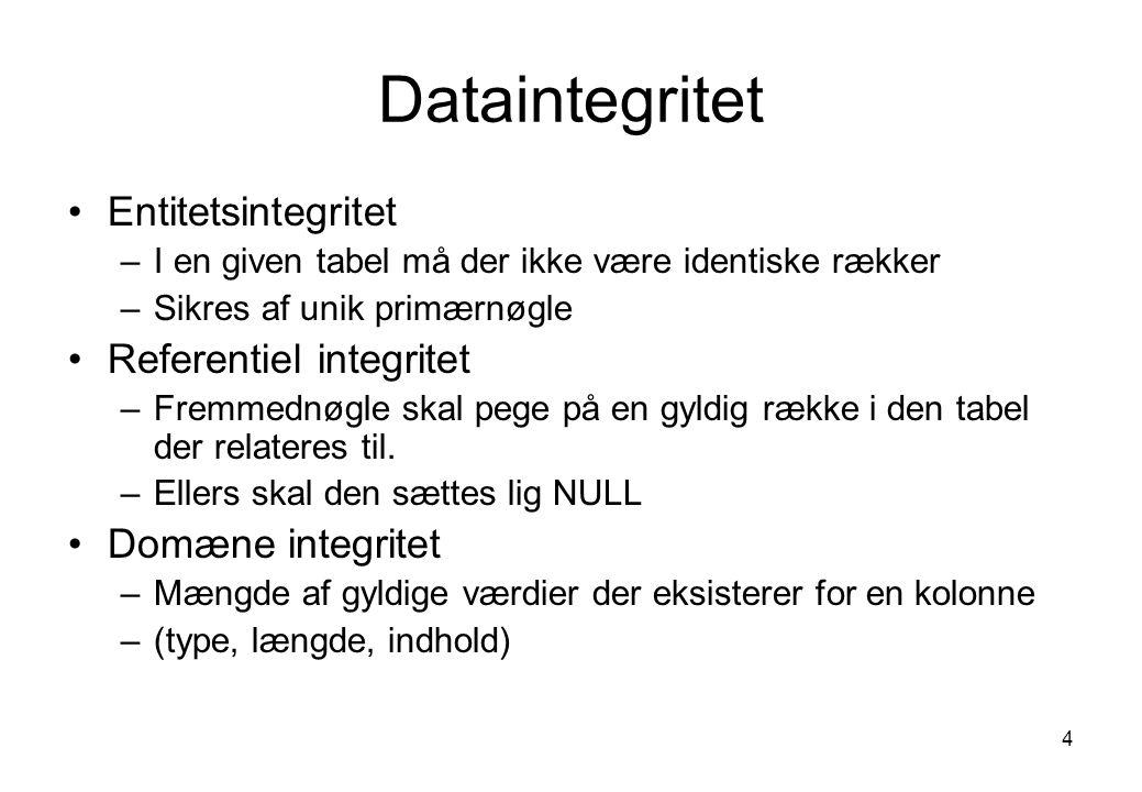 Dataintegritet Entitetsintegritet Referentiel integritet