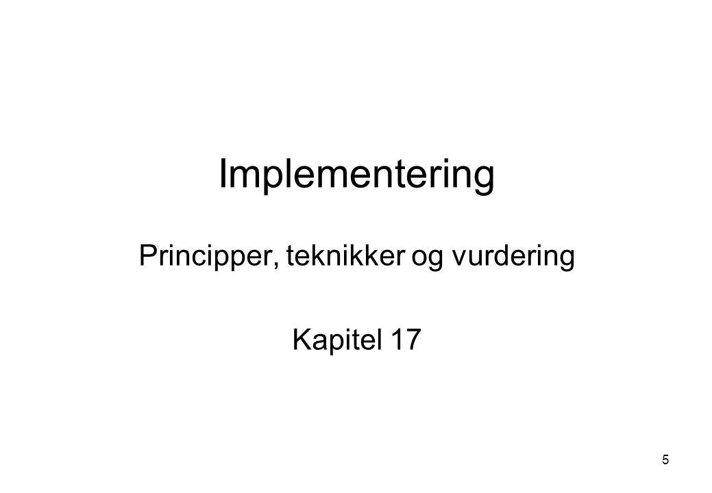 Principper, teknikker og vurdering