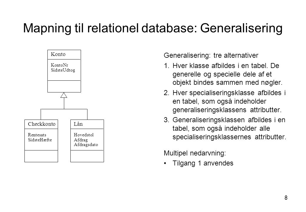 Mapning til relationel database: Generalisering