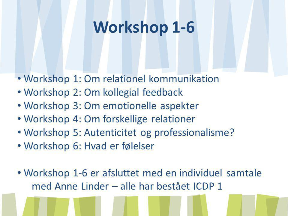 Workshop 1-6 Workshop 1: Om relationel kommunikation