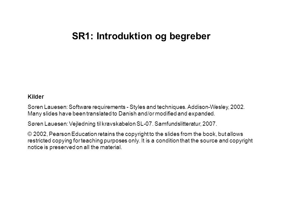 SR1: Introduktion og begreber