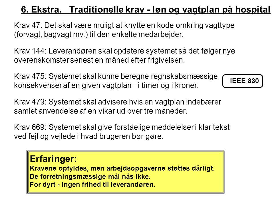 6. Ekstra. Traditionelle krav - løn og vagtplan på hospital